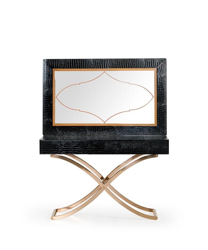 au0026x aversa modern black crocodile console table u0026 mirror - Modern Console Tables