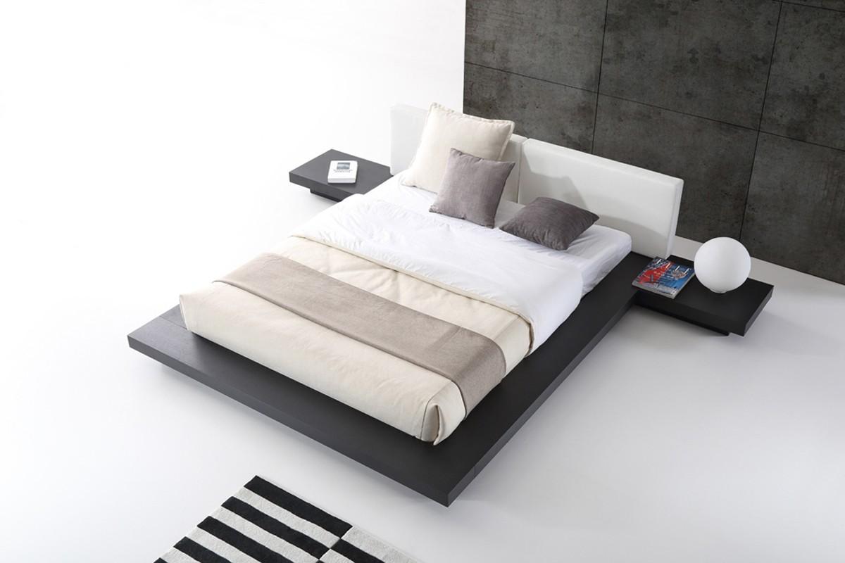White modern platform bed - Modrest Opal Modern Wenge White Platform Bed