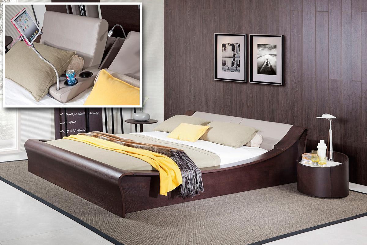 Modern platform bedroom sets - Modrest Geneva Contemporary Brown Oak Grey Bedroom Set