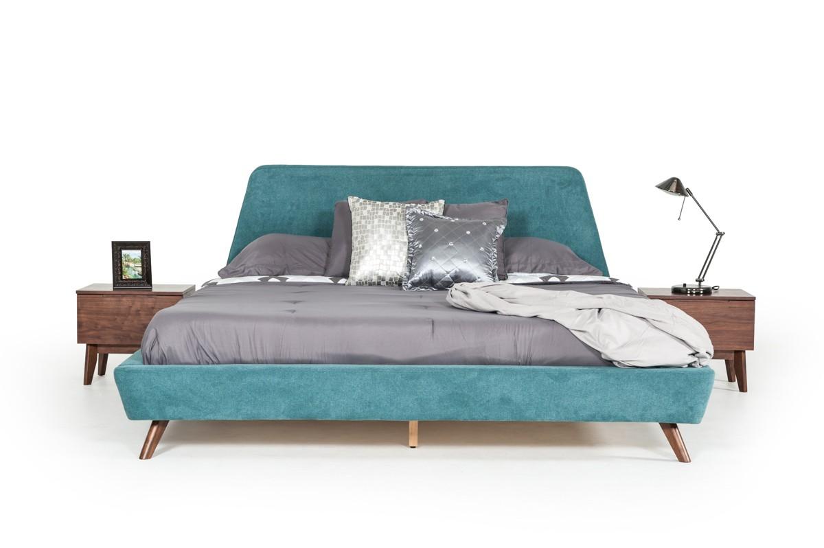 Modrest Lewis Mid Century Modern Teal U0026 Walnut Bed