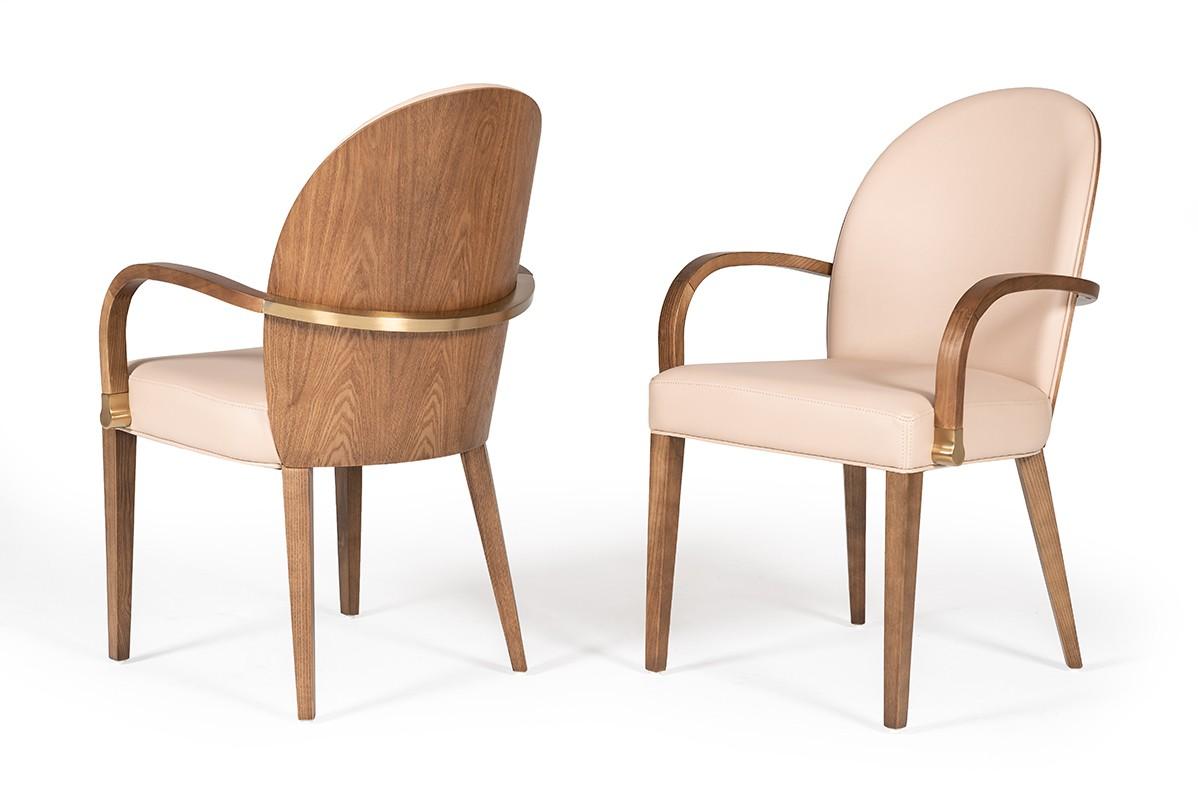 Modrest Rexford Modern Beige Walnut Dining Armchair