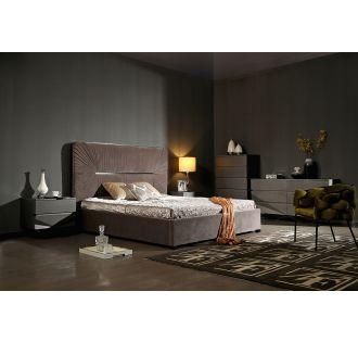 Modrest Duke Modern Grey Velvet & Black Gun Chrome Bed