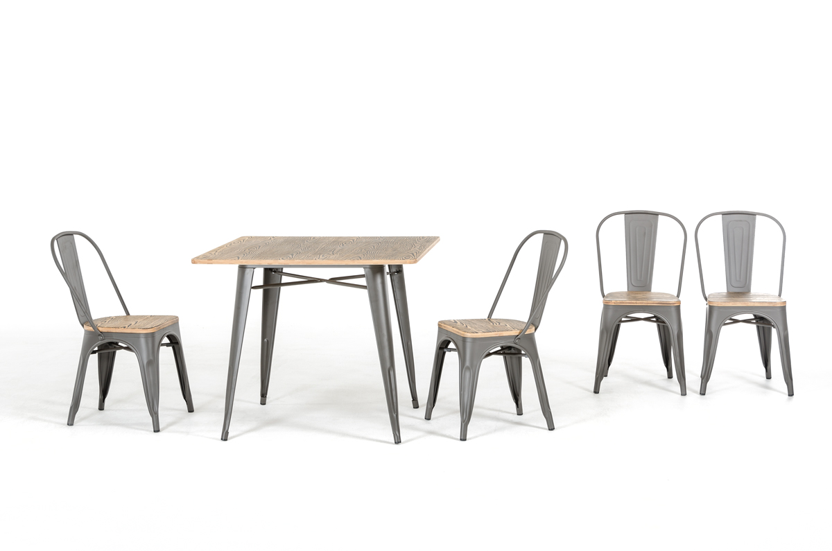 modern grey metal and wood dining chair ebay. Black Bedroom Furniture Sets. Home Design Ideas